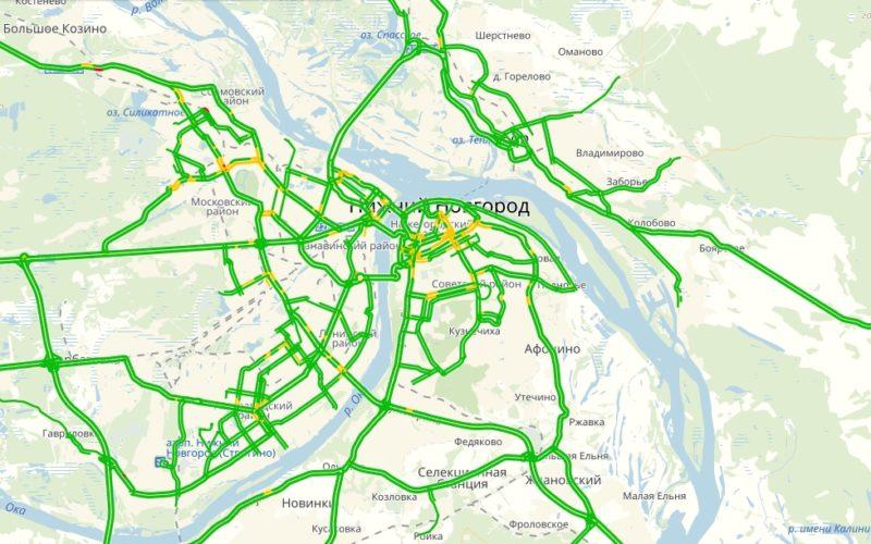 Пробки в Нижнем Новгороде сейчас онлайн на карте Яндекс