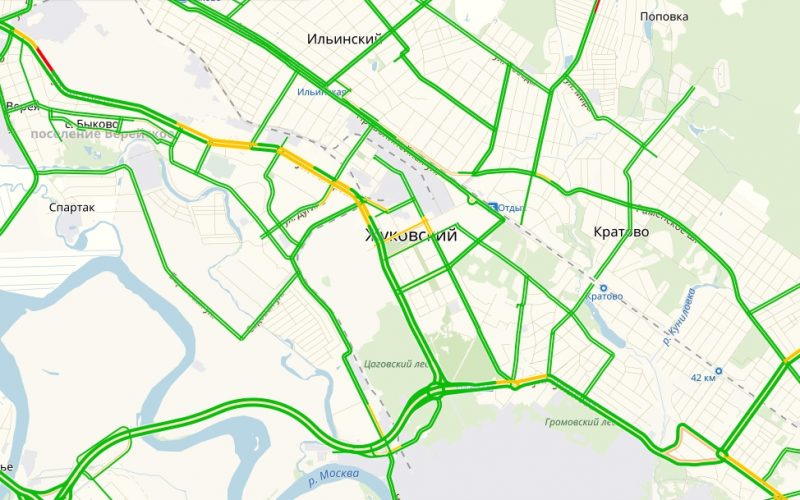 Пробки в Жуковском онлайн сейчас на карте Яндекс
