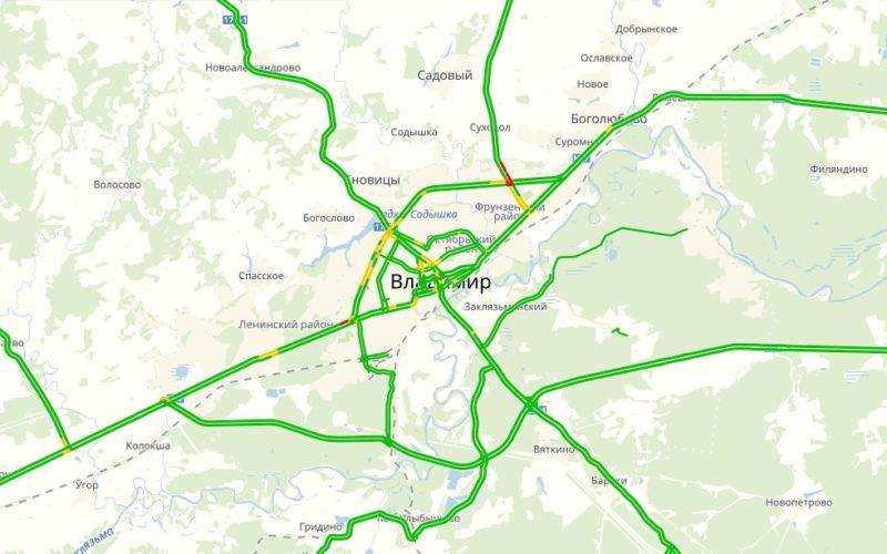 Пробки онлайн во Владимире на карте Яндекс