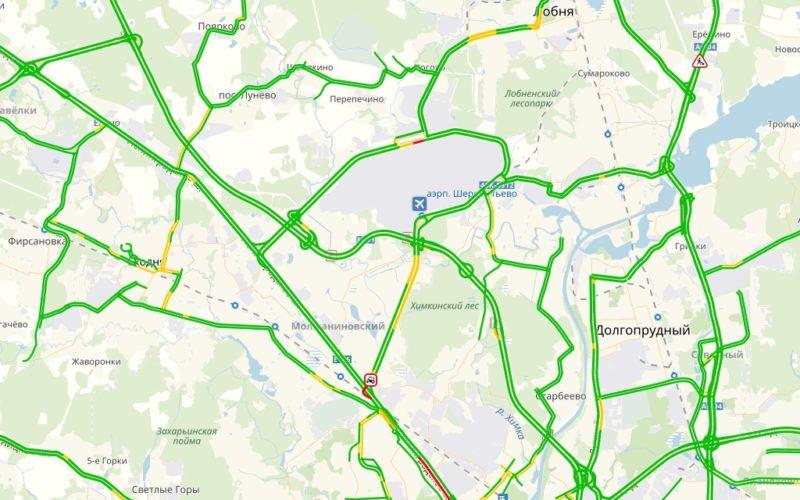 Пробки в Шереметьево онлайн сейчас на карте Яндекс