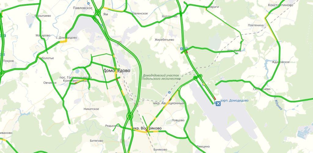 Пробки в Домодедово онлайн сейчас на карте Яндекс