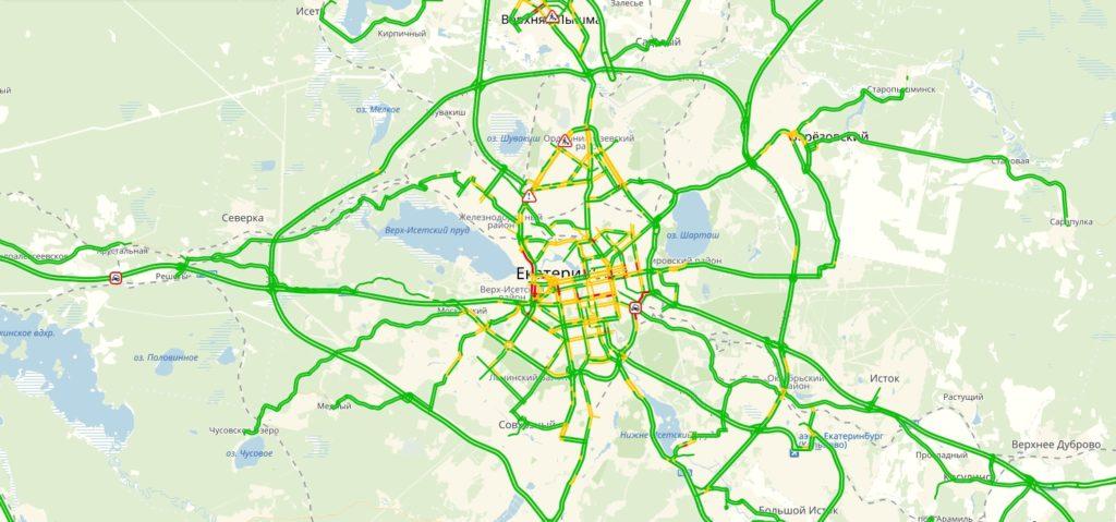 Пробки Екатеринбург онлайн сейчас на карте Яндекс