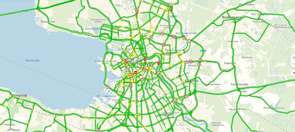 Пробки СПБ онлайн сейчас на карте Яндекс