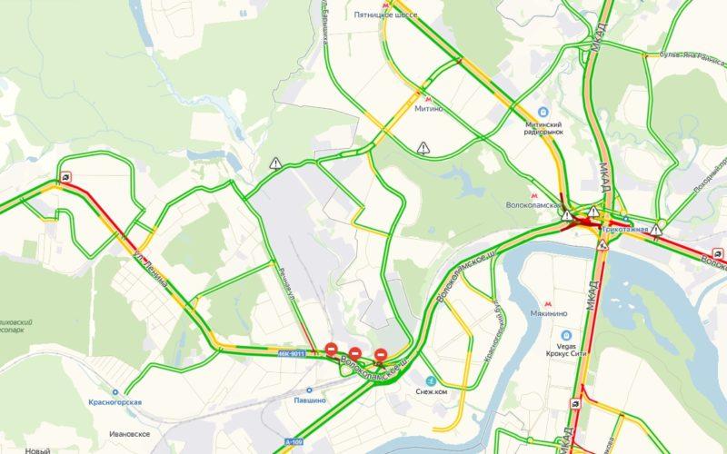 Пробки в Красногорске сейчас онлайн на карте Яндекс