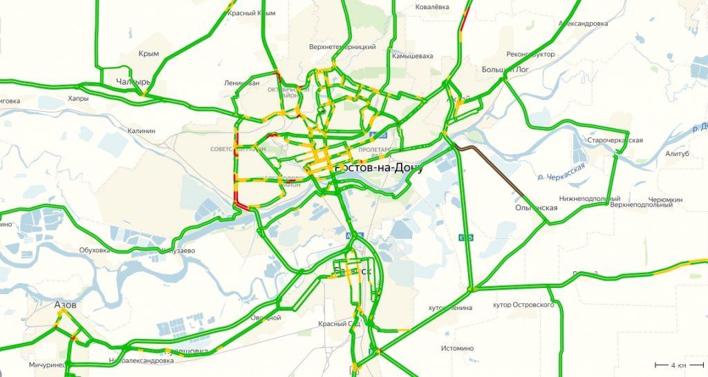 Пробки в Ростове-на-Дону сейчас онлайн на карте Яндекс