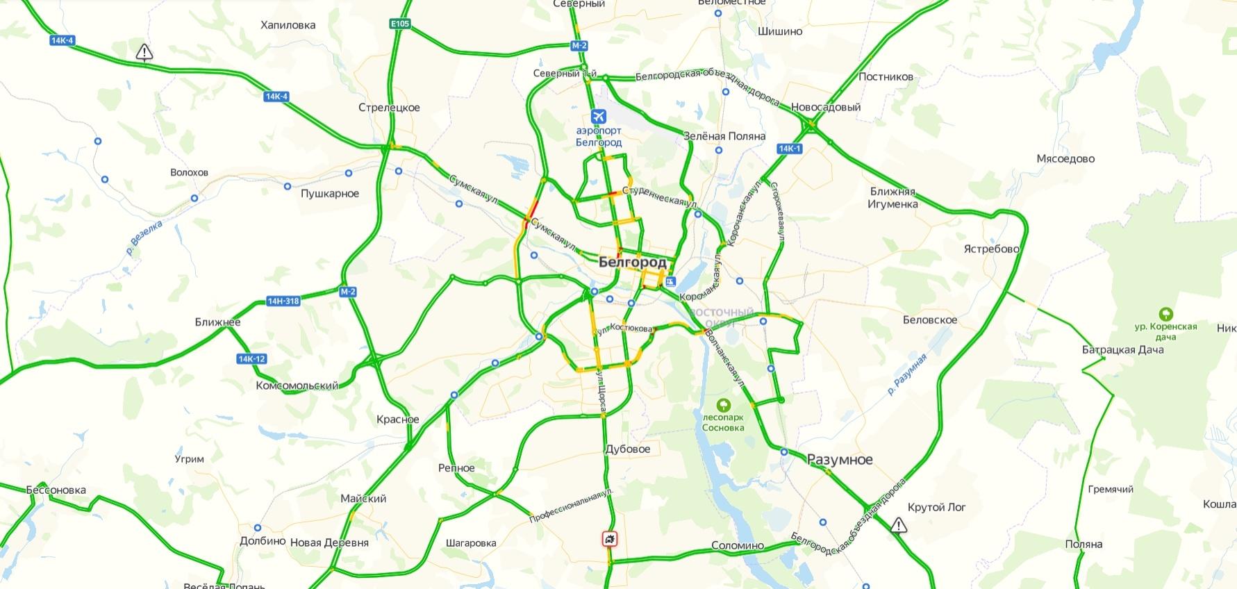 Пробки в Белгороде онлайн сейчас